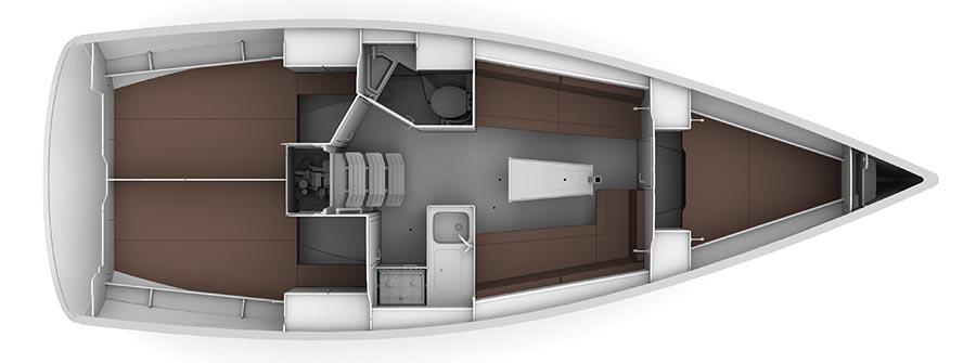 Bavaria Cruiser 34 - Yacht Charter Croatia - layout
