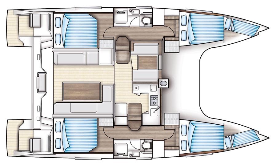 Nautitech Open 40 - Yacht Charter Croatia - layout - Blue Point