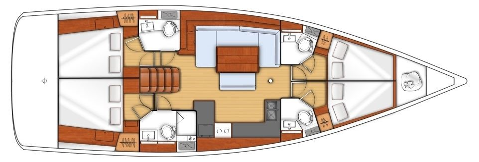 Oceanis 48 - Yacht Charter Croatia - layout