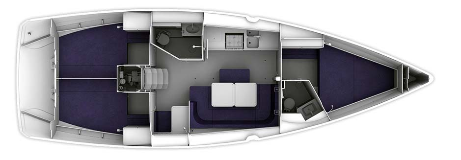 Bavaria Cruiser 41 - Yacht Charter Croatia - layout