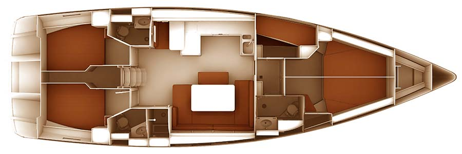 Bavaria Cruiser 51 - Yacht Charter Croatia - layout - game point