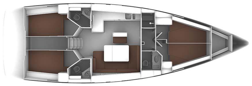 Bavaria Cruiser 46 - Yacht Charter Croatia - layout