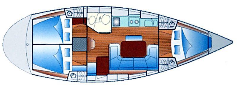 Bavaria Cruiser 37 - Yacht Charter Croatia - layout - mondo