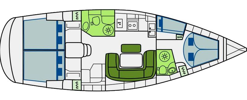 Bavaria 46 Cruiser - Yacht Charter Croatia - layout
