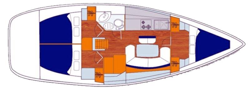 Cyclades 39.3 - Yacht Charter Croatia - layout