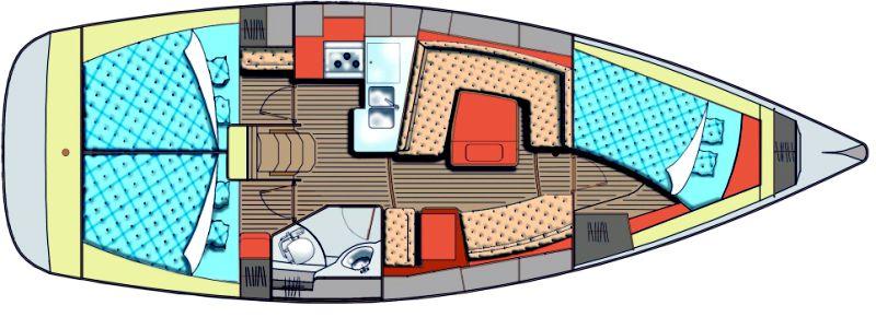Salona 40 - Yacht Charter Croatia - layout - branka