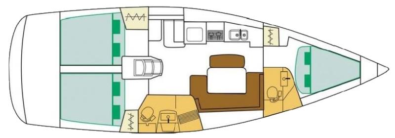 Oceanis 40 - Yacht Charter Croatia - layout
