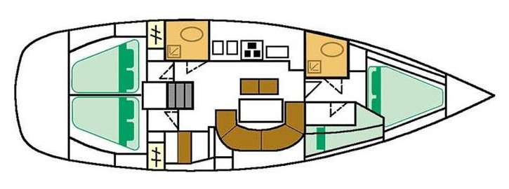 Oceanis 411 - Yacht Charter Croatia - layout