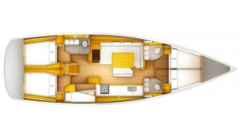Sun odyssey 509 - Yacht Charter Croatia - layout - Rock Point